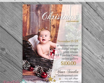 INSTANT DOWNLOAD - Rejoice Christmas Marketing Board 4- custom 5x7 photo template