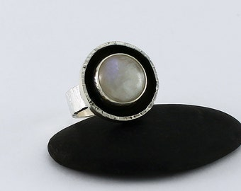 Size 6 Ring Handcrafted Sterling Silver and Rainbow Moonstone Round Natural Stone Textured Band Contemporary One of a Kind 1007621692816