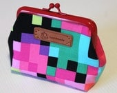 Colorful pixels  purse with red frame