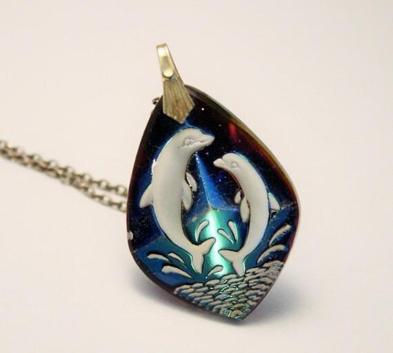 vintage dolphin pendant multi coloured glass pendant