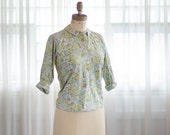 60s Floral Blouse - Vintage 1960s Cotton Shirt - First Bloom Blouse