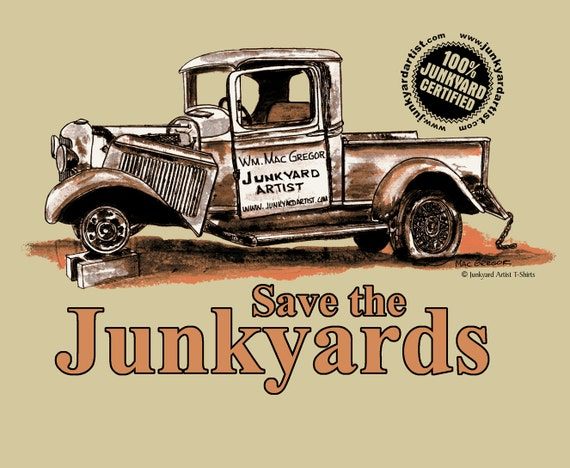 Save the Junkyards T-Shirt  Color Sand ( Another Junkyard Artist Apparel T-Shirt)