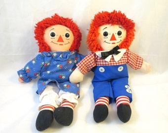 Vintage Raggedy Ann Andy Dolls Hasbro Playskool 1987 12 inch Ann Doll Blue Flower Dress Andy Button Eyes I Love You Heart Hasbro Toy Nice