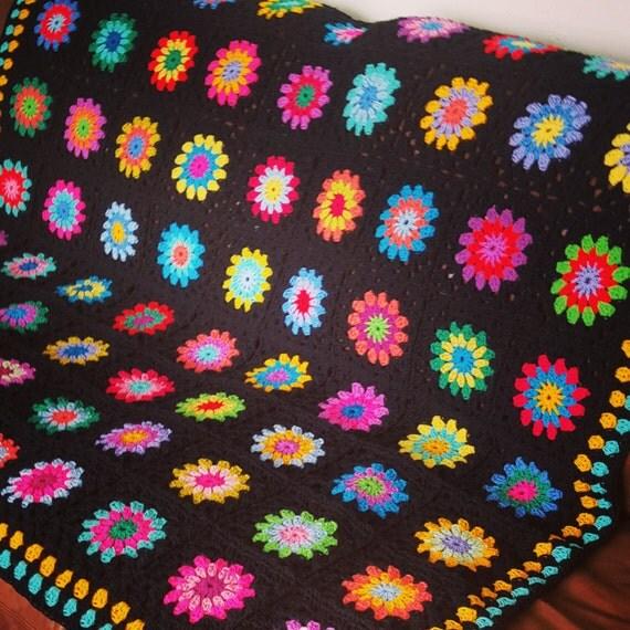 Crochet BLANKET Large Retro Sunburst Granny Squares 56 x 56