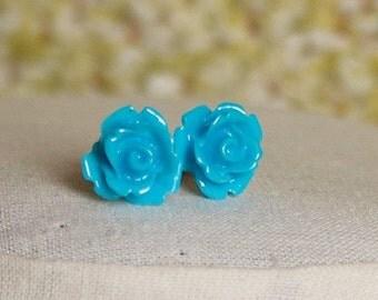 Handmade Blue Post Earrings Blue Flower Earrings Blue Rose Posts Slate Blue Rose Earrings Blue Earrings Bright Blue Earrings