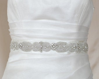 Elegant Silver Beadwork and Rhinestone Beaded Wedding Dress Sash Belt