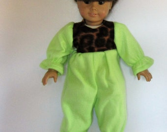 Green Fleece Footies Pajamas PJ's Made to Fit Dolls Like Gotz or American Girl Doll Clothes 18""
