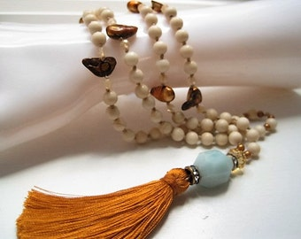Natural Fossil Stone & Golden Pearl Tassel Hand Knotted  Necklace / Anazonite Nugget