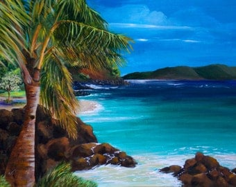 "Original Painting: ""Palm Tree Paradise"" Tropical painting of palm tree on the beach in Maui, Hawaii"