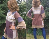 SALE Eco Tunic Shirt size M/L, artsy tunic,artistic tunic,hippy tunic, jersey tunic,patchwork tunic, bell sleeve tunic,abstract tunic Zasra