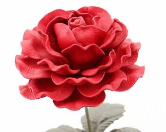 Leather Rose Crimson  Red Large Third Wedding Anniversary Gift Long Stem Flower Valentine's Day 3rd Leather Anniversary Mother's Day