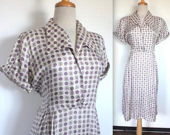 Vintage 1950s Dress // 50s 60s Star and Polka Dot Print Shirt Dress // Novelty Print Day Dress // Collared House Dress // DIVINE