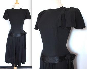 Vintage 1940's Dress // 40s Black Crepe Dress with Satin Peplum Sash and Pleated Skirt // Film Noir // Flutter Sleeves