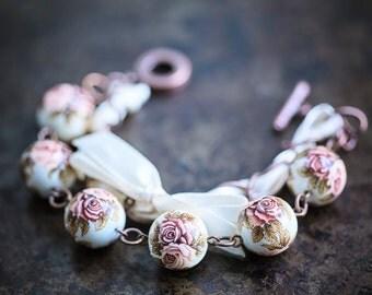 Rose and Ribbon Bracelet