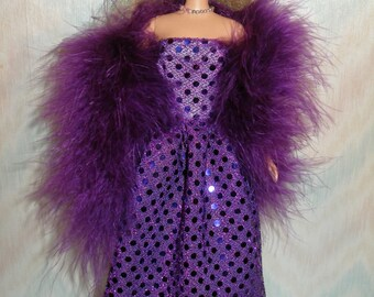 Handmade Barbie clothes - confetti dot gown with boa -- Your color choice