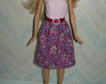 "Handmade 11.5"" fashion doll clothes - pink floral dress"