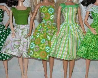 Handmade Barbie clothes - mixed lot of 5 green print dresses