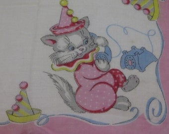 Vintage Childs Hanky-Handkerchief-Pink-Kittens-Birthday