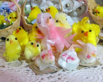 Vintage Chenille Chicks and Bunnies-PASTELS-Bead Eyes-Wire Feet--Made in Japan-Novelties