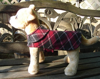 Dog Jacket -  Black White and Red Plaid Knit Fabric Dog Coat- Size XX Small 8-10 Inch Back Length