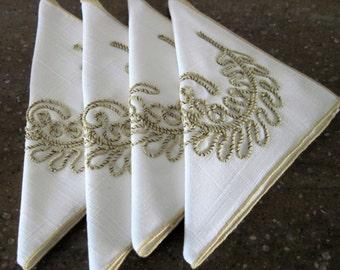4 Vintage Linen Luncheon Napkins Fancy Gold Soutache Braid Like Stitched Raised Feather Design 12 x 12 Circa 1950's