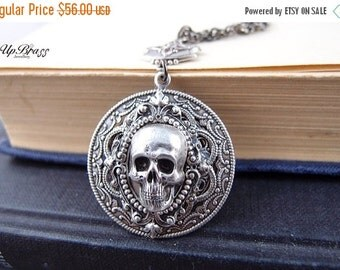 CLEAROUT SALE 40% OFF Cloven-aged sterling silver plated brass skull gothic necklace, neo Victorian, haunted,darkness