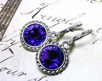 ON SALE Swarovski Crystal Rivoli Earrings in Heliotrope Purple - Purple and Blue Swarovski Crystal and Sterling Silver Leverbacks