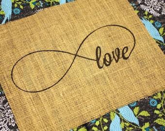 Infinity Love - burlap print