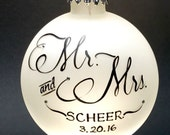 Mr. & Mrs. Wedding Ornaments, Set of 2, Personalized, gift boxed, gift cards included