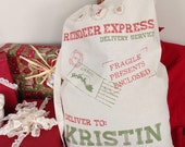 Santa sack personalized //Santa bag christmas presents personalized //Santa Laundry bag with strap
