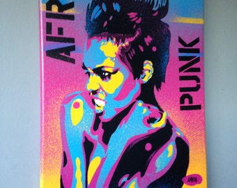 Afro Punk canvas painting,stencil art,spray paint art,pop art,abstract,graffiti,large,woman,wall art,rainbow,strong,artist,rebel,stripes