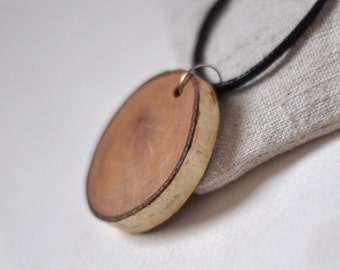 wood necklace, wood pendant, necklace of Birch wood