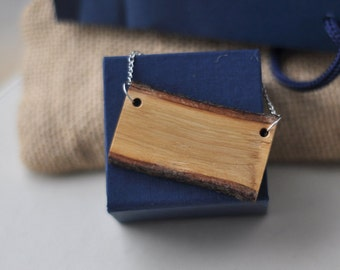 oak wood  • wooden necklace • wooden pendant