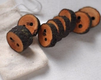 tree branch buttons • set of 9 yellow plum wood buttons  • wooden button