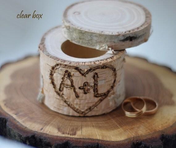 personalized birch box • birch wood • ring bearer pillow • ring box for wedding decor