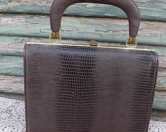 Dark Brown Alligator Lizard Handbag