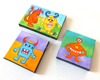 Art for Kids Rooms, LITTLE MONSTERS, Set of 3 acrylic canvases, Kids Room Decor, Playroom Art, Nursery Art