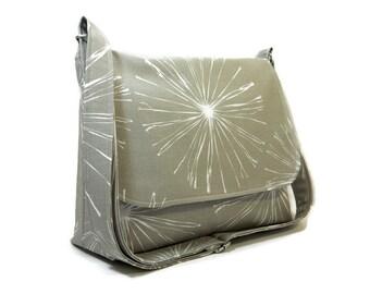 Taupe Gray Messenger Bag for Women, Dandelion Fabric Pocketbook, Cotton Crossbody Bag, Gray Cross Body Purse, Dandelion Handbag