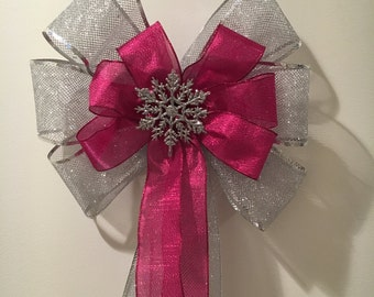 Large Winter Door Bow silver mesh and shimmery pink ribbons pink silver snow flake center