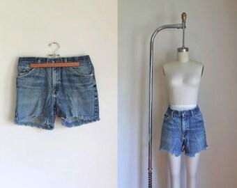"""vintage denim cutoffs - LEE blue faded cutoff jean shorts / M (32"""")"""