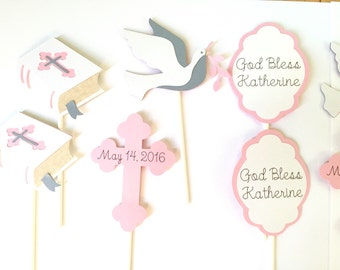 Set of 12 Christening Cupcake Toppers