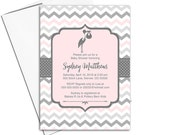 Gray and pink baby girls shower invites   printable baby shower invitations   stork baby shower invitations digital - WLP00857