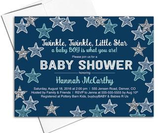 Boy baby shower invitations printable | Twinkle twinkle little star baby shower invites | unique baby shower invitation - WLP00705