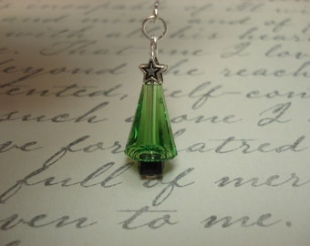 Swarovski Crystal Christmas Trees on Sterling Ear Threads -Threader Earrings/Necklace-FREE SHIPPING To U.S.