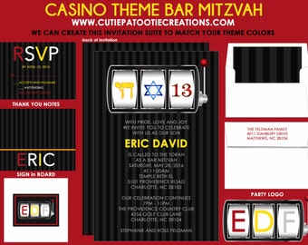 Casino Bar Mitzvah Invitation - Vegas Theme Bar Mitzvah Invitations - Guest - Return Addressing - RSVP - Info - Celebration Card