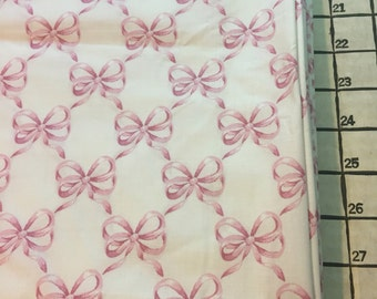 "Light Weight Woven Poly Cotton Blend Pink Bowl Fabric 1 Yard X 42"" Wide #3939"