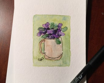 Cup of Flowers Watercolor Card / Hand Painted Watercolor Card