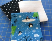 Penguin Winter Rag Quilt Squares Kit, 48 Total Pre-Cut Squares, All Flannel, Make Your Own Kit, 6-inch Squares, Rotary Cut