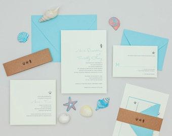 Modern Beach Wedding Invitation,Beach Destination Wedding Invitations,Beach Seashell Wedding Invites, Minimalist Beach Wedding Invitations