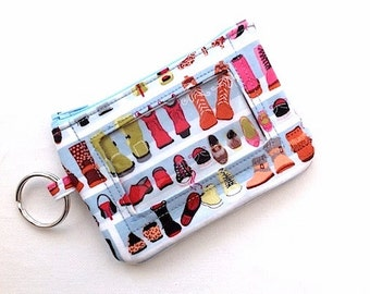 Keychain ID Wallet/Student ID Holder/Keyring Coin Purse/Credit Card Wallet/Badge Holder/Keychain Wallet/Id Case/Girls Closet Boots/Shoes